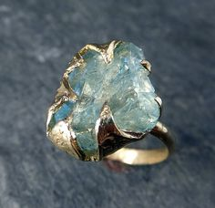 Raw Uncut Aquamarine Ring Solid 14K Gold Ring by byAngeline - I can't even deal with how gorgoeus this is.