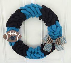Carolina Panthers wreath - burlap wreath w/ chevron bow and wooden football - Carolina panthers decor on Etsy, $50.00