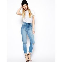 ASOS Farleigh High Waist Slim Mom Jeans In Mid Wash Blue With Busted... (£41) ❤ liked on Polyvore featuring jeans, vintage wash, slim fit jeans, slim jeans, asos jeans, high-waisted jeans und 5 pocket jeans