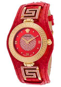 günstig billig Versace Damenuhr Women's Signature Red Genuine Leather Red Dial