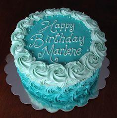 Teal turquoise ombré buttercream rosette birthday cake