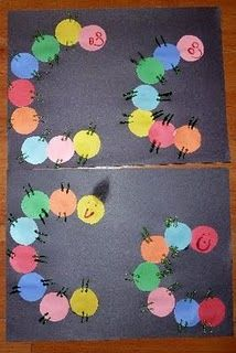 C is for Caterpillar craft - can use paint samples cut in circles or construction paper...