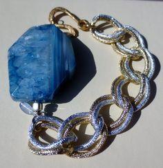 Blue agate stone chunky gold and silver chain by PanachebyAmanda, $52.20