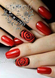 Nail art Christmas - the festive spirit on the nails. Over 70 creative ideas and tutorials - My Nails Rose Nail Design, Rose Nail Art, Red Nail Designs, Rose Nails, Flower Nails, 3d Nails, Pointy Nails, 3d Nail Art, Acrylic Nails