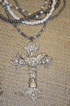 Fancy Faith Vintage Necklace-cross  vintage  necklace