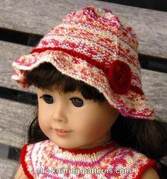 ABC Knitting Patterns - American Girl Doll Carolina Summer Hat