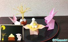 折り紙で作ったお月見飾り Mid Autumn, Origami, Ornaments, Cake, Crafts, Moon, The Moon, Manualidades, Kuchen
