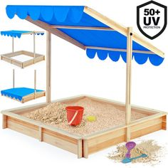 Sandbox with UV and Water Repellent Sun Canopy & Cover 120x120cm