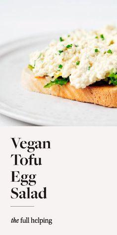This is a simple, yet super flavorful vegan tofu egg salad. Perfect for sandwiches and tartines, wraps and crackers, and more! It's one of my favorite every day lunchtime staples. #vegan #veganrecipes #plantbased Tofu Sandwich, Sandwich Fillings, Plant Based Recipes, Raw Food Recipes, Healthy Recipes, Yummy Recipes, Extra Firm Tofu, Lunch Meal Prep, Egg Salad