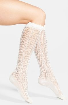 Free shipping and returns on Free People Pointelle Knit Knee Socks at Nordstrom.com. Delicate pointelle knitting gives a lacy effect to pretty knee-length socks. (Great with boots)