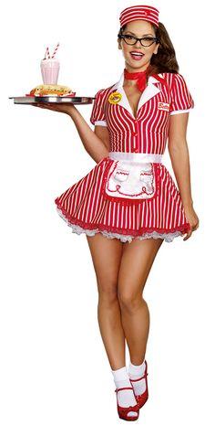 Women's Retro Diner Doll Costume