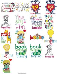 Childrens Library Sentimetns 17 Machine Embroidery Designs and Some – Pillow Home Embroidery Machine, Brother Embroidery Machine, Pillow Embroidery, Machine Applique, Free Machine Embroidery Designs, Embroidery Ideas, Hand Embroidery, Book Pillow, Reading Pillow