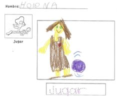 After teaching any verb I have a worksheet for students to take home so they could take it home and practice. They had an opportunity to write and draw the verb. In this example, I taught the verb jugar. Students were able to see the picture they learned with the verb, the word written down, and then an opportunity for them to show me what they liked to 'jugar' all on the same worksheet. ~spanishsimply.com