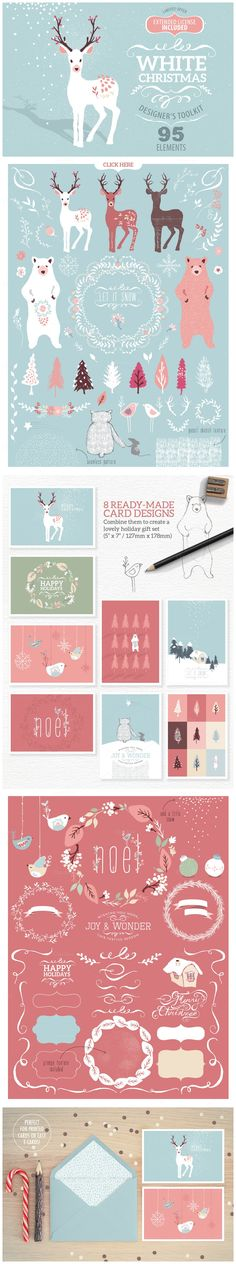 White Christmas designer toolkit https://creativemarket.com/Glanz/107413-White-Christmas-designer-toolkit?u=MeeraG | #christmas #clip art #clipartelements #reindeer #character #wreaths #banners #bear #animal #tree #greetingcard #extended #license #illustration #handdrawn #vector #whimsical #bird #wedding #stationery #template