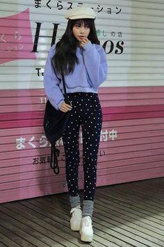 Stylenanda ドット柄ハイウエストスキニーパンツ