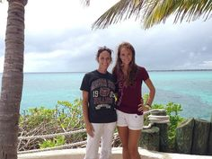 Freshman Brianna Kendrick and her mom show off their maroon and white on Blue Lagoon Island.