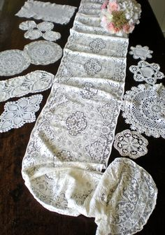 Lace Cake Table Decor Doily LOT 10, LONG Quaker Lace Table Runner, Antique embroidered Lace, Something OLD White Wedding 1940s 50's Vintage by chloeswirl on Etsy