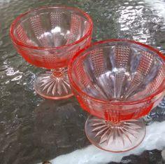 Pink glass goblets vintage drink ware barware pink depression glass stemware by HappyVintageStudio on Etsy