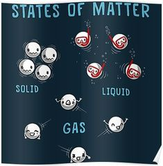 'States of Matter' Poster by Wirdou Science Chemistry, Science Humor, Science Facts, Physical Science, Science Lessons, Science Projects, Earth Science, Science Experiments, Science Today