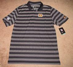 1f3f1fad0 Nike Cincinnati Bengals Striped Dri-FIT Mens Polo Shirt L Black White  597097 010