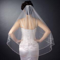 Sparkling Two Layer Beaded Edge Fingertip Wedding Veil - Affordable Elegance Bridal -