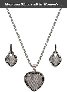 Montana Silversmiths Women's Vintage Charm Quilted Heart Jewelry Set Silver One Size. Add some romantic sparkle to your look with a lovely heart pendant and earrings set by Montana Silversmiths. This three-piece set includes a pendant on a curb chain and matching earrings. The three hearts are embedded with pave-style clear crystals and antiqued rope trim. For nearly 40 years, Montana Silversmiths has focused on producing and offering products of exceptional value. Nestled in the tiny…