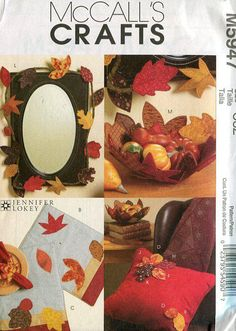 Free Us Ship Craft Sewing Pattern Uncut McCall's 5947 Thanksgiving Fall Leaves Table Accessories Garland Placemat Fabric quilt Bowl by LanetzLiving on Etsy