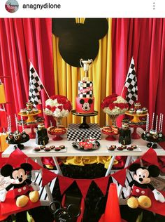 Mickey Mouse Road to Racer inspired Birthday Party Dessert Table and Decor