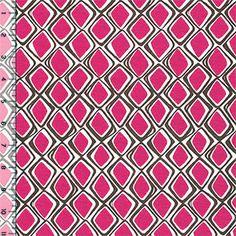 Magenta Pink Mod Diamonds Cotton Jersey Blend Knit Fabric