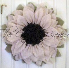 "Extra Large Burlap Sunflower Wreath, 30"" White Sunflower, Spring Wreath, Summer Wreath, Customizable Wreath, Trendy Sunflower Wreath"