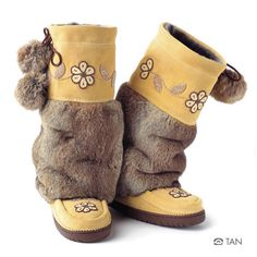 "Manitobah Mukluks  Metis Mukluk.  Traditionally beaded in Metis style. The Metis People wove geometric floral art onto clothing and tipis. That distinction led the Dakota Sioux and Cree to call the Metis the ""Flower Beadwork People""."