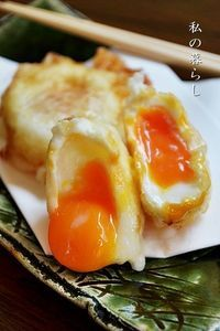 天ぷら屋さんで食べる卵の天ぷら、冷凍卵で簡単にできます♪  11/4 少ない油で揚げるこつをのせてレシピを改善しました。