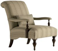 An open arm chair with a tight rolled back and a tight seat. Upholstered arms. Shaped bottom. Turned legs.<br><br>A cousin of the English Gainesborough chair, this chair is less French or English than a product of the drawing room. Sherry and cigars. A glass of port without undue pretense. This is a comfortable reading chair and an ideal accent for a traditional sofa.