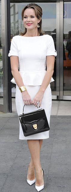 Amanda Holden wearing our Mayfair Bag   http://www.aspinaloflondon.com/ladies-collection/handbags-and-evening-bags/mayfair-bag-with-crossbody-strap