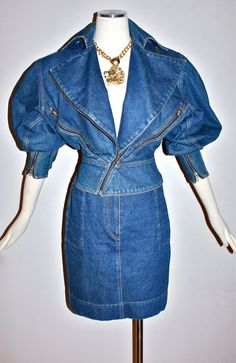 AZZEDINE ALAIA Denim Motorcycle Jacket Skirt Suit