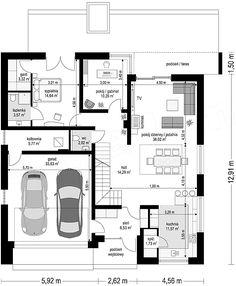 Rzut parteru projektu Orkan Single Storey House Plans, Best Modern House Design, Lobby Design, Dream House Plans, Architecture Plan, Plan Design, Planer, Building A House, Floor Plans