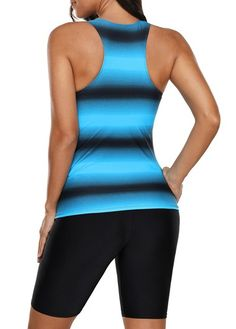 Aleumdr Womens Racerback Color Block Print Tankini Swimsuits with Swim Capris S-XXXL One Piece Swimsuit Slimming, One Piece Man, 2 Piece Swimsuits, Swimsuit Cover Ups, Tankini Top, Couture, Ladies Dress Design, Bathing Suits, Athletic Tank Tops