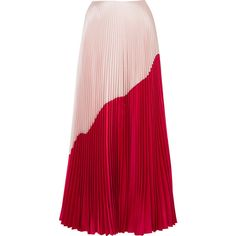 Reem Acra Two-tone pleated silk and wool-blend taffeta maxi skirt (48 720 UAH) via Polyvore featuring skirts, red, taffeta maxi skirt, silk maxi skirt, long taffeta skirt, taffeta skirts и long skirts