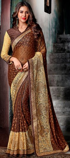 : Beige and Brown color family Embroidered Sarees, Party Wear Sarees