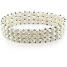 Miadora Silvertone White Cultured Freshwater Pearl Stretch Bracelet ($19) ❤ liked on Polyvore featuring jewelry, bracelets, white, fresh water pearl jewelry, white jewelry, stretch jewelry, silver tone jewelry and braid jewelry