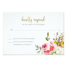 #wedding #responsecards - #Floral Gold   Modern Watercolor Wedding Response Card