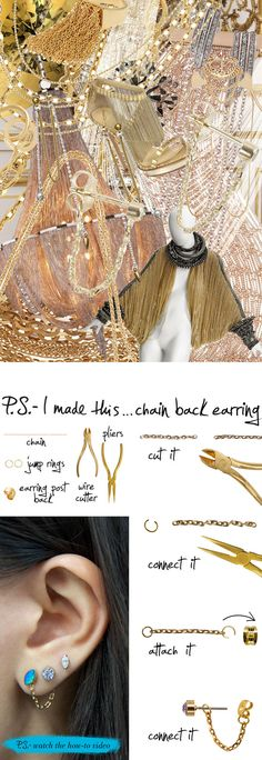 P.S.-I made this...Chain Back Earring #PSIMADETHIS #DIY
