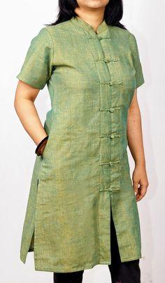 Indian Handlooms: Pamper Yourself with Handloom Fabrics Salwar Designs, Kurta Designs Women, Kurti Designs Party Wear, Dress Neck Designs, Designs For Dresses, Blouse Designs, Salwar Pattern, Kurta Patterns, Kurta Neck Design