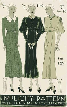 1930s Dress Pattern Vintage Simplicity 1140 Socialite Day Dress Variations for Necklines and Sleeves.