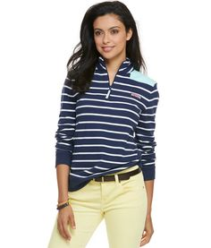 Stripe Shep Shirt at vineyard vines. Fabrics:  · 100% cotton-French terry    Features:  · 2X2 rib trim on cuff   · Embroidered whale on back neck   · Signature label on the chest   · Grosgrain zipper pull Color:  Nautical Navy