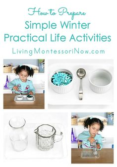 Tips for preparing simple Montessori winter practical life activities for toddlers and preschoolers