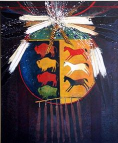 Buffalo Horse Medicine Shield - Kevin Red Star ~Via Drum Beat Native American Artifacts, Native American Indians, Crow Indians, Native American Paintings, Indian Crafts, Painted Pony, Nativity Crafts, American Indian Art, Indigenous Art