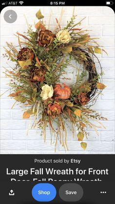 Autumn Wreaths For Front Door, Diy Fall Wreath, Holiday Wreaths, Fall Front Doors, Wreaths Crafts, Thanksgiving Wreaths, Wreath Ideas, Fall Door Decorations, Fall Decor