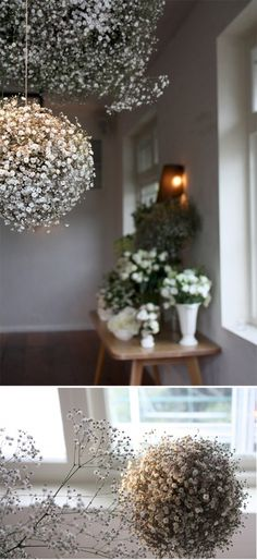 Babys breath pomanders. @La Farme / Anne / La Farme Claire, we might consider something like this for those plant hangers...?