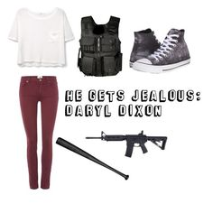 """""""He Gets Jealous: Daryl Dixon"""" by mcglitterpawz ❤ liked on Polyvore featuring art"""